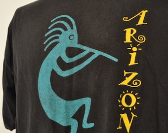 Faded Vintage Tee Wind Dancer Flute Southwestern Native American Indian Arizona teal Black 80s 90s Red Black XL