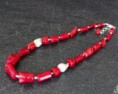 Red Coral Pearl Necklace, Graduated Red Coral Barrel Nuggets, Flameball Nucleated White Pearl, Coral Statement, Coral Jewelry, Red Necklace