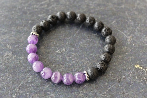 Black Lava Bead Necklaces Amethyst Bead Necklaces Amethyst and Black Lava Bead Necklace Purple and Black Necklaces Beaded Necklaces