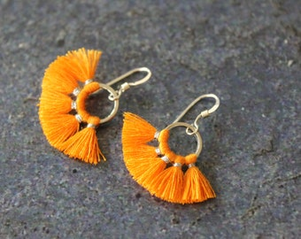 Orange Tassel Earrings, Round Tassel Earring, Silver Tassel Earrings, Sterling Silver, Tassel Jewelry, Circle Earring, Tassel Dangle
