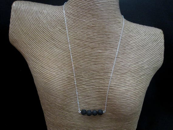 Diffusor Halskette Lava Stein Schmuck Sterling Silberdraht