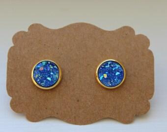 Blue Gold Druzy Earrings, 10mm Druzy, Drusy Earring, Druzy Earrings, Gold Post, Blue Druzy Post, Gold Blue Druzy Earrings, Post Stud Earring