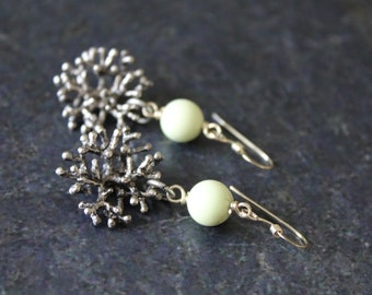 Chrysoprase Antique Silver Coral Earrings, Antique Silver Coral Link, 8mm Green Chrysoprase Beads, Sterling Silver, Chrysoprase Earrings
