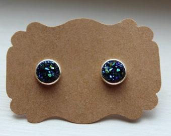 Blue Druzy Earrings, Tiny Drusy Earrings, Druzy Earrings, Silver Post, Blue Druzy Post, Blue Druzy Earrings, Post Stud Earrings, 8mm Druzy