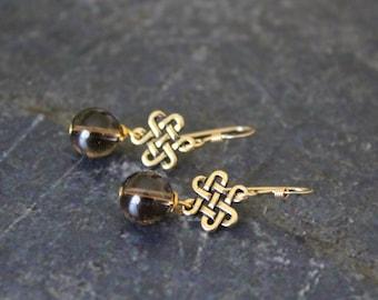 Smoky Quartz Celtic Gold Earrings, Smoky Quartz Antique Gold Eternity, 14K Gold Fill, Quartz Earrings, Celtic Irish Earrings, Quartz Jewelry