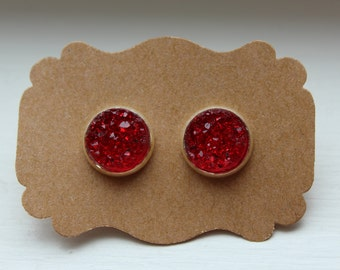 Red Silver Druzy Earrings, Drusy Earrings, Druzy Earrings, Silver Post, Red Druzy Post, Red Druzy Earrings, Post Stud Earrings, 12mm Druzy