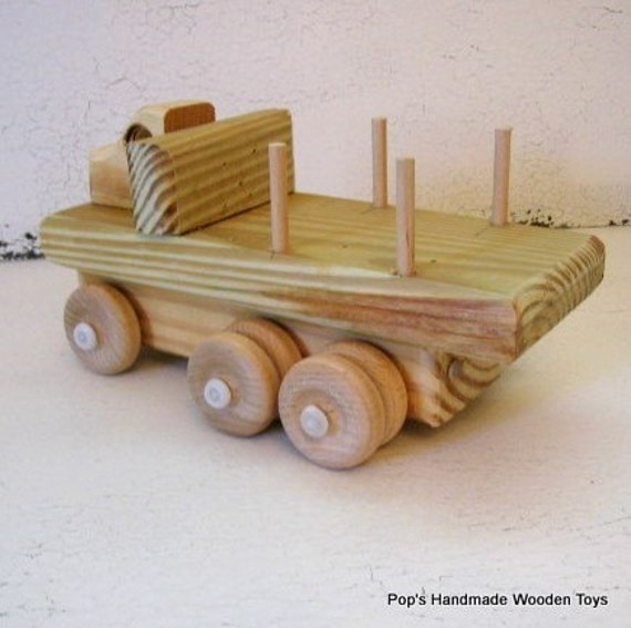 Handmade Wooden Truck, Tandem Axle Wooden Truck, Natural Wood Toys, Wood  Heirloom Toy