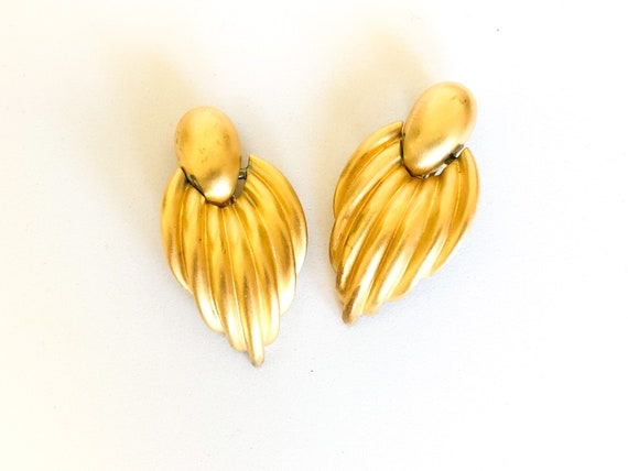 80s gold chunky statement earrings - image 1