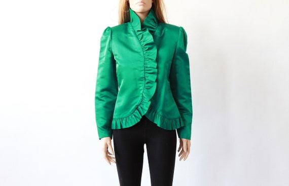80s BILL BLASS ruffle blouse | green silk shirt