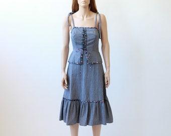 70s prairie dress / cottage core dress / boho dress / xs small