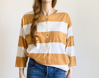 80s Forenza rugby shirt Small / 80s striped Henley shirt / mustard / striped shirt