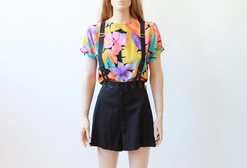 80s tropical silk T-shirt
