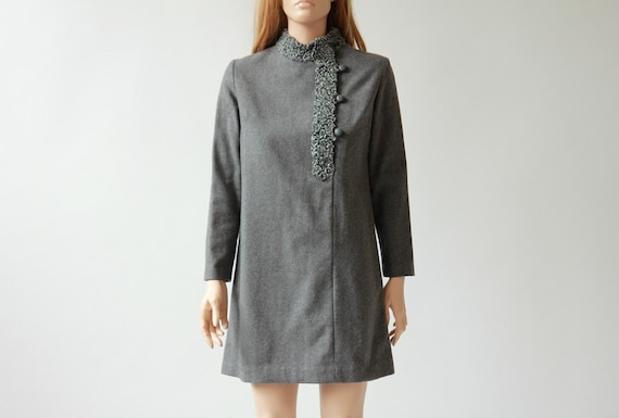60s boucle wool mini dress