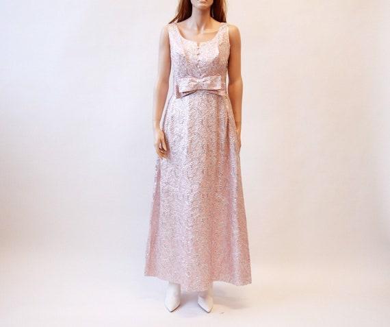 60s brocade maxi dress | pink sleeveless long dres