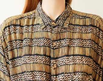 90s ethnic print button up half sleeve blouse