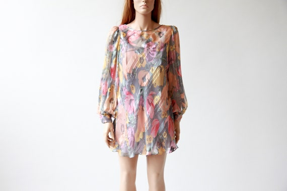 80s floral silk mini dress