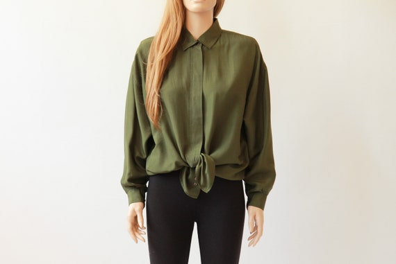 90s olive silk button up blouse