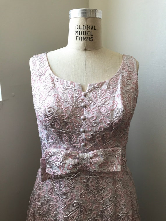 60s brocade maxi dress | pink sleeveless long dre… - image 6