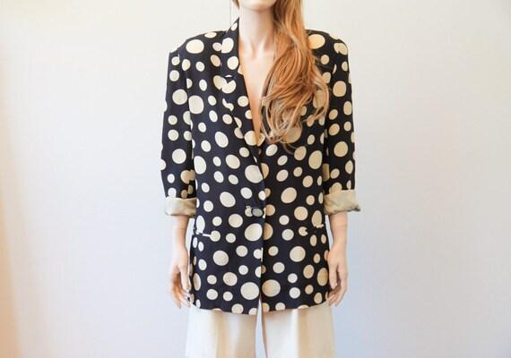vintage 80s Boxy Blazer | silk blazer | polka dot
