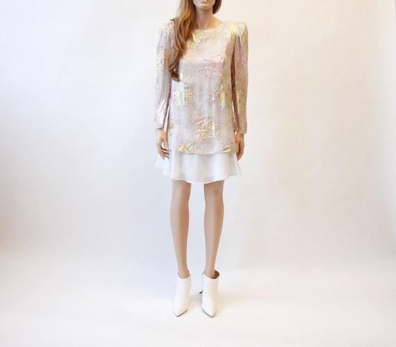80s floral metalic mini dress | long sleeve minidr