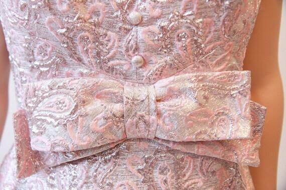 60s brocade maxi dress | pink sleeveless long dre… - image 2
