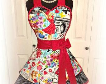 I love Paris sweetheart pin up girl apron