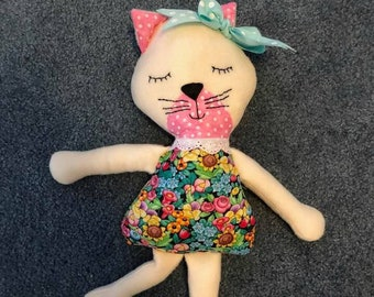 Kitty doll- fabric doll -handmade doll -modern doll - girls toy -girl's room decor-nursery decor-cat doll