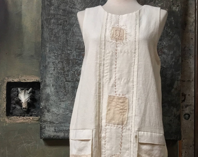 Simple Sleeveless Off-White Dress    CC0112