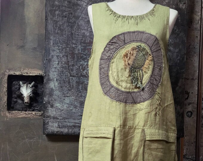 Simple Sleeveless Smoky Green Linen Dress    CC0111
