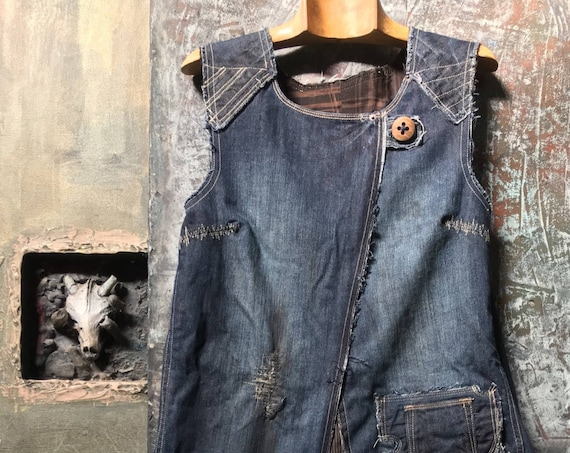 blue jeans remake short dress CC0118