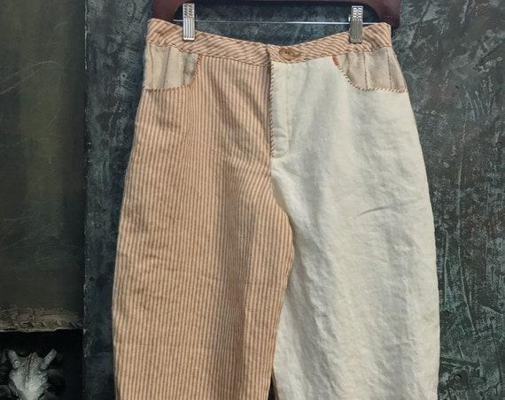Beige and stripe Linen Baggy Pants   CC 0174