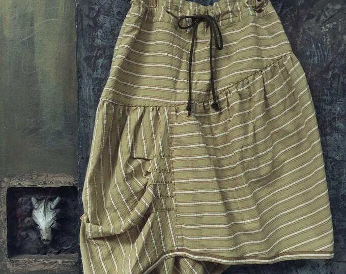 Asymmetry unique design skirt made by moss green stripe cotton CC-0057