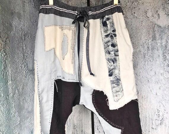 Art Linen Patchwork Drop Pants