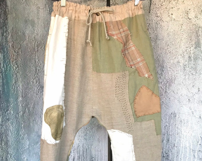 Art Linen Patchwork Drop Pants
