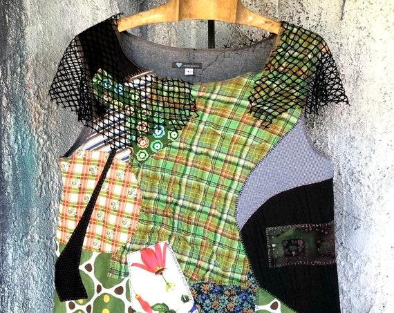 Cotton Patchwork Design Tank-top