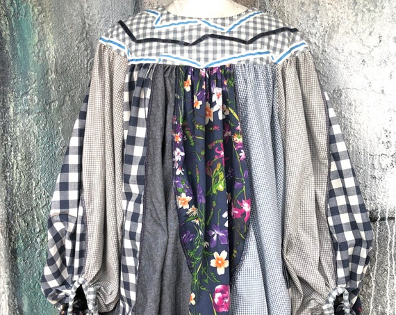 Big Sleeves  Cotton Patchwork Design Long Shirts