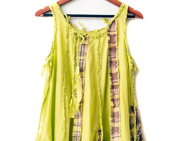 Light green and tartans check swiching flare dress   CC0073