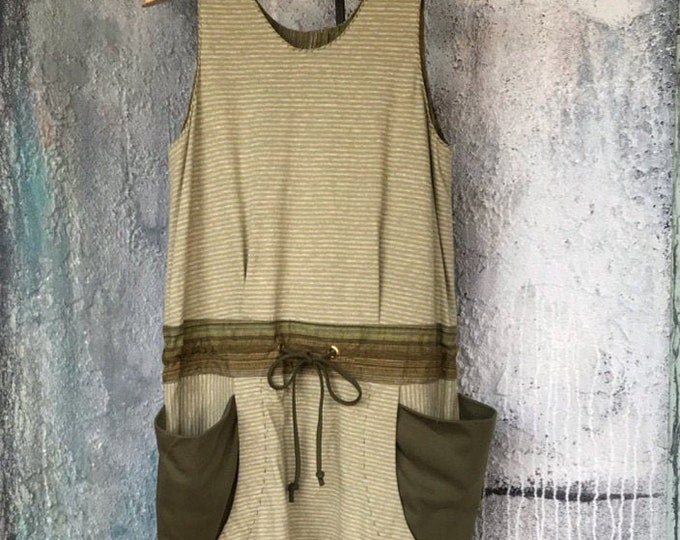 Comfy Drop Pants Style Jumpsuits with Moss-Green Stripe Knit