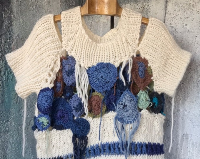 Crochet motif & Knit Fiber Art Sweater