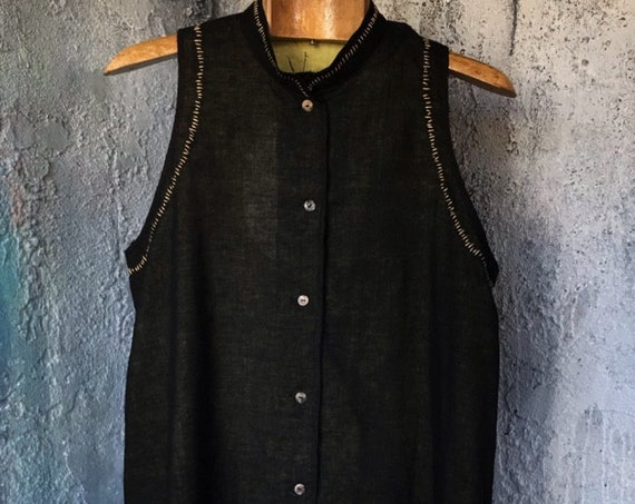 Yellow Lining Black Band Collar Sleeveless cotton Shirt