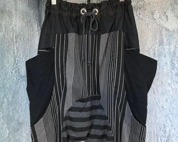 Comfy black/grey stripe knit drop pants