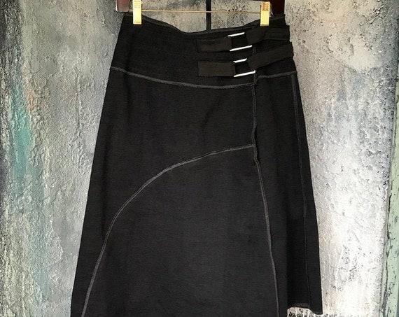 Asymmetry unique design skirt made by black cotton knit