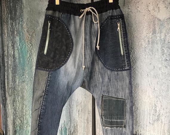Reconstructed Vintage Jean's Drop Pants