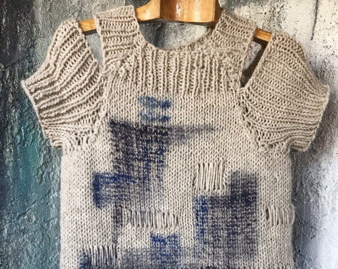 Open Shoulder Wool Art Paint Sweater