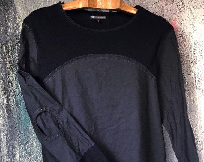 Dark Blue Close & Knit switching T-shirt