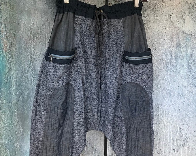 Comfy black/grey stripe knit drop pants