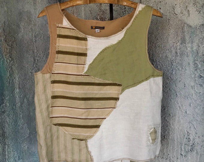 Linen Patchwork Simple Sleeveless Tank-top