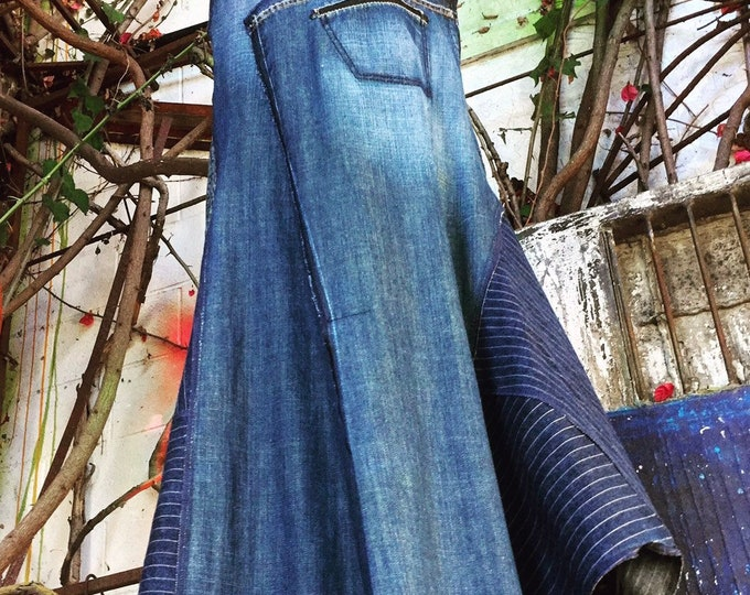 Reconstructed  Vintage Denim overall skirt CC 0102