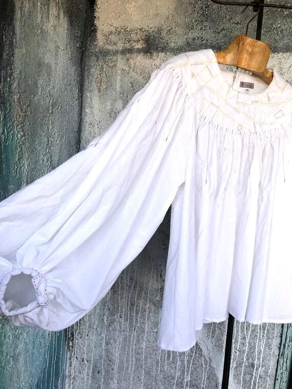 Big Sleeves  White Cotton Design Shirts