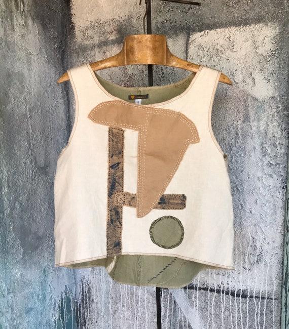 Linen Patchwork Simple Sleeveless Tank-top